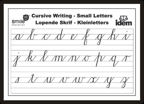 Chart : Cursive Small Letters - Vetpret Speelgoed